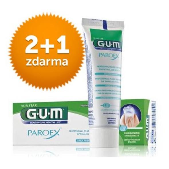 GUM Paroex 0,06% CHX zubná pasta 75 ml 2+1 ZDARMA